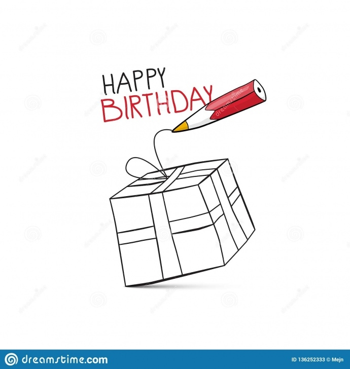 Fine Happy Birthday Pencil Drawing Step by Step Happy Birthday Vector Design With Pencil And Gift Box Stock Vector Photos