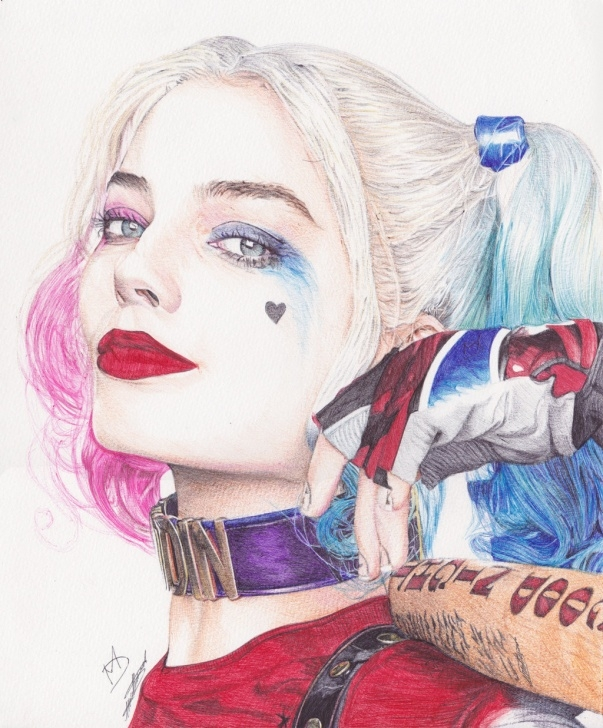 Fine Harley Quinn Pencil Drawing Tutorials Harley Quinn Drawing, Pencil, Sketch, Colorful, Realistic Art Images Pictures