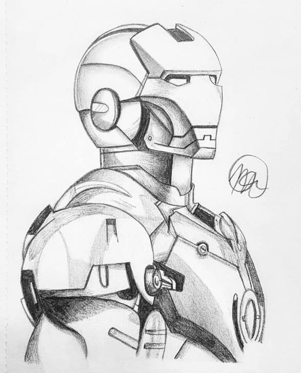 Fine Iron Man Drawing In Pencil Free Marvel Comics Drawing, Pencil, Sketch, Colorful, Realistic Art Image