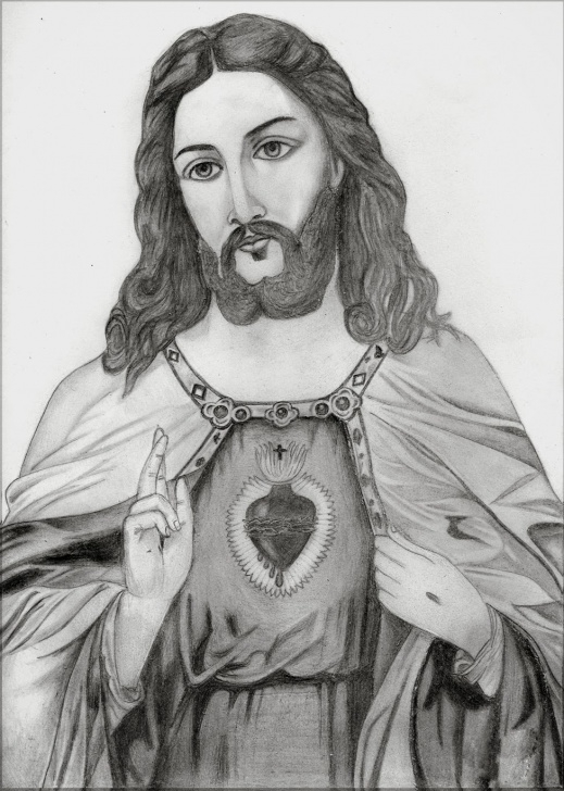 Fine Jesus Pencil Sketch Step by Step Sketch Picture Of Jesus At Paintingvalley | Explore Collection Image