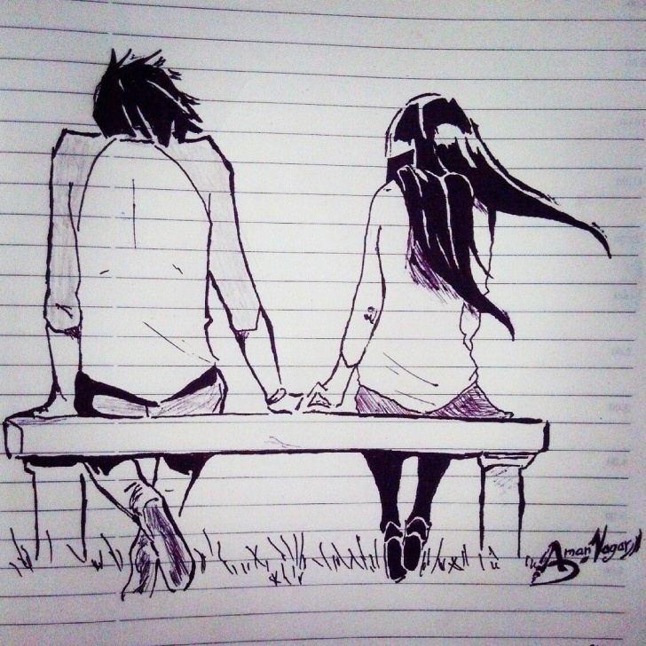 Fine Love Couple Sketch Art for Beginners Romantic Sketch Love Couple Sketch Cute Sketch Cute Love Sketch Pictures