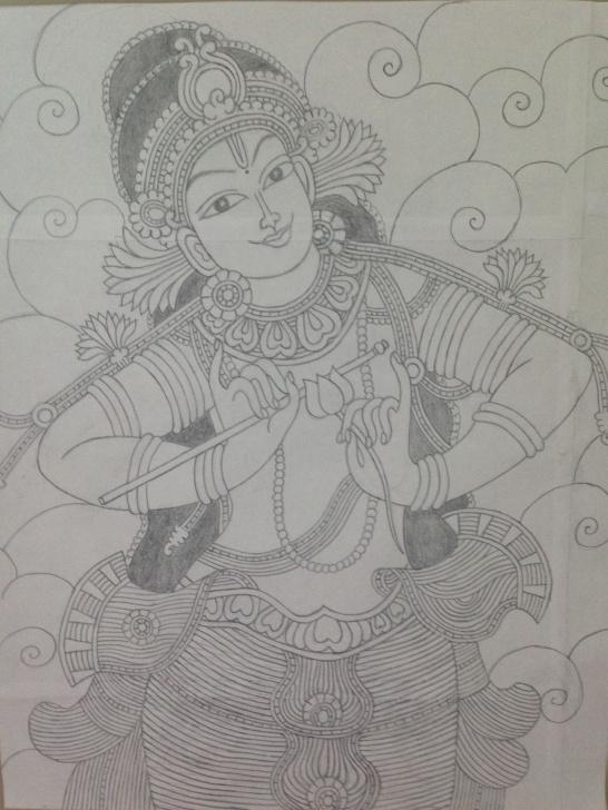 Fine Mural Pencil Drawings Techniques for Beginners Krishna Mural Pencil Sketch | Amigurumi | Kerala Mural Painting Picture