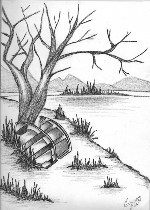 Fine Nature Scenery Sketch Step by Step Nature Sketch For Kids At Paintingvalley | Explore Collection Of Pictures