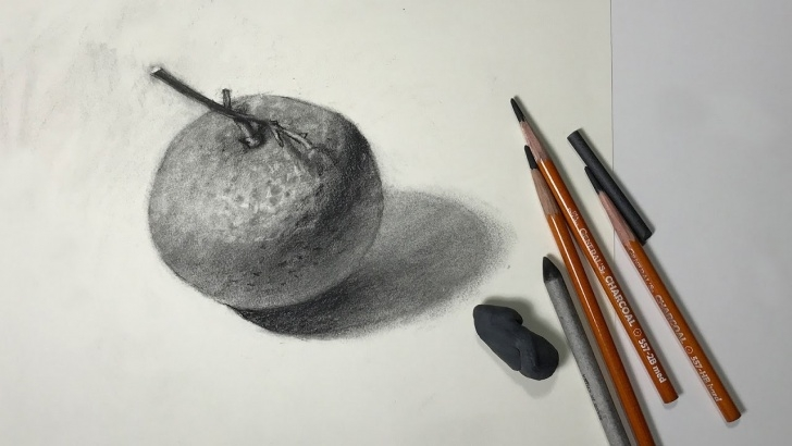 Fine Orange Pencil Drawing Simple Still Life #52 - How To Draw A Mandarin Orange With Charcoal Photo