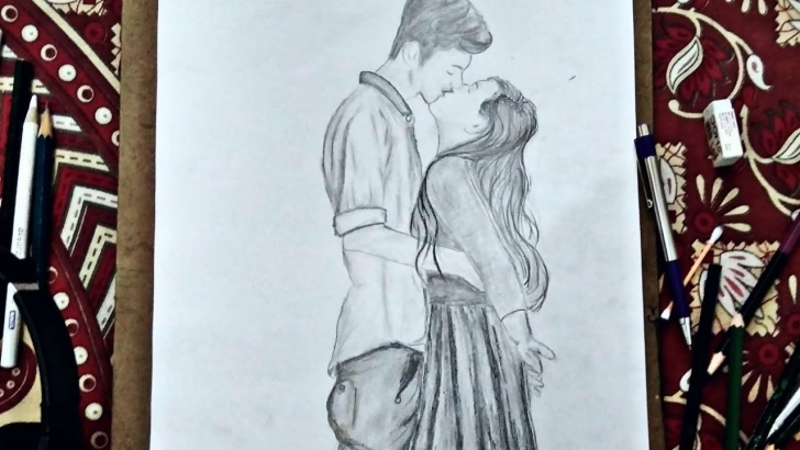 Fine Pencil Drawing Boy And Girl Simple Pencil Drawing Of Kissing  How To Draw Girl And Boy Kissing.lovely Couple  Kissing You&art.#youandart Image