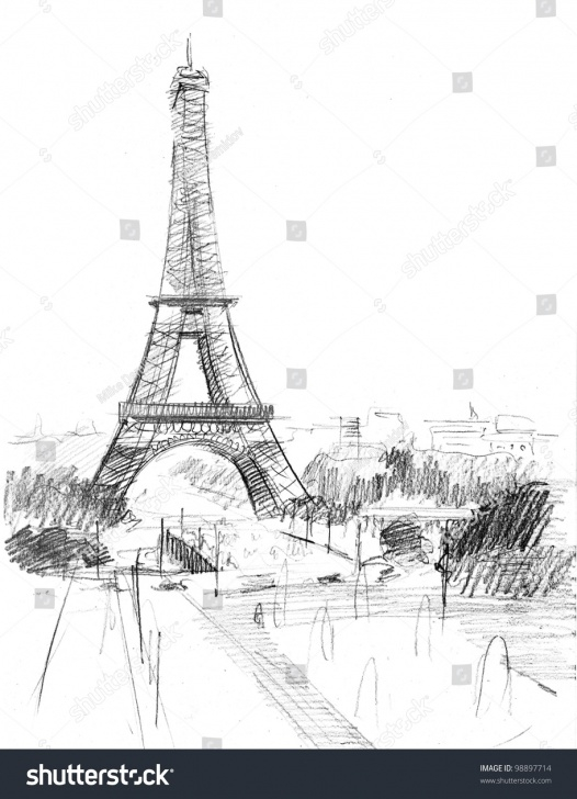 Fine Pencil Drawing Of Step by Step Pencil Drawing Cathedral Eiffel Tower Paris Stock Illustration 98897714 Pic