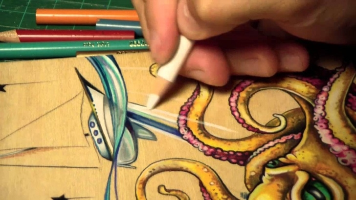 Fine Pencil Drawing On Wood Techniques Time Lapse Prismacolor Pencil Octopus Drawing Image