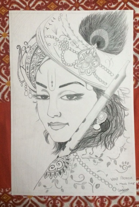 Fine Pencil Shade Drawing Of Krishna for Beginners Krishna #sketch #not Original #tried To Make It As Good As Possible Pictures