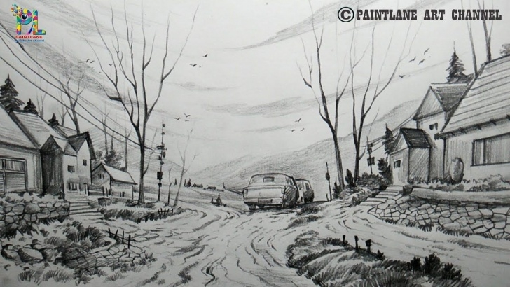 Fine Pencil Shading Scenery Simple How To Draw A Beautiful Scenery With Pencil | Pencil Shading | Step Pics