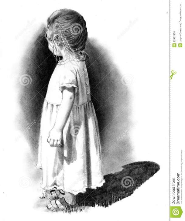 Fine Pencil Sketch Of A Girl Standing Tutorial Pencil Drawing Of Small Girl Stock Illustration - Illustration Of Photo