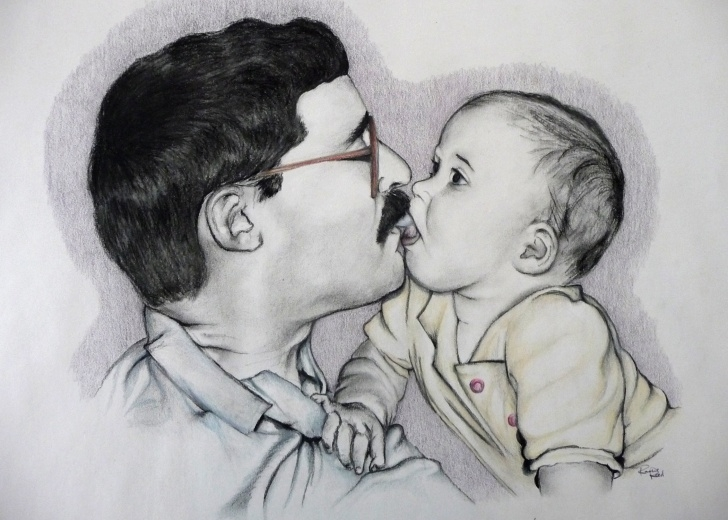 Pencil Sketches Of Father And Daughter