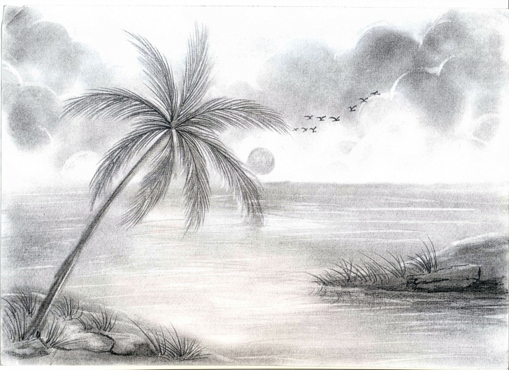 Fine Pencil Sketches Of Nature Scenery Simple Pencil Sketches Of Nature At Paintingvalley | Explore Collection Picture