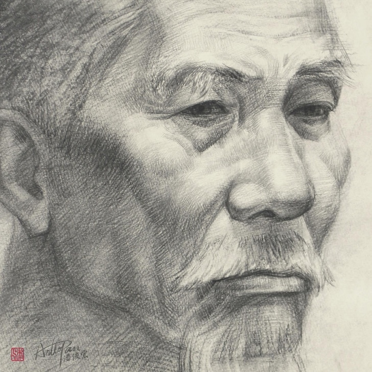 Fine Realistic Pencil Art Step by Step Bearded Old Man's Head Portrait-Part-Arttopan Drawing-Portrait Realistic  Carbon Pencil Sketch By Artto Pan Pics
