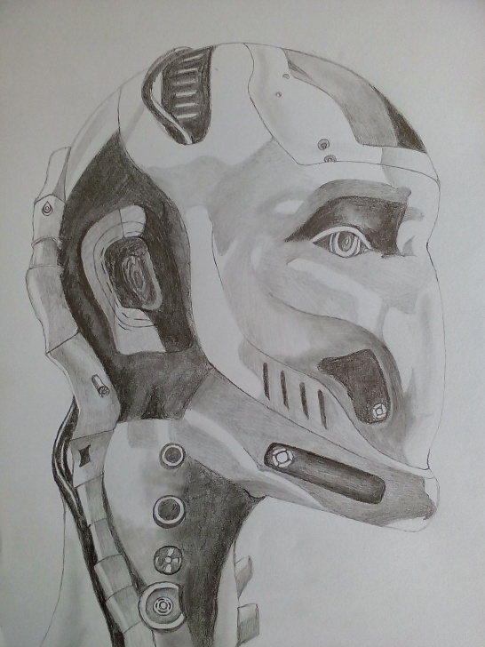 Fine Robot Pencil Drawing for Beginners Pencil Sketch Of A Robot Head-Object Drawing/shading Study-Showing Images