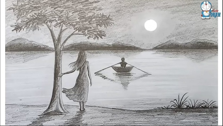 Fine Scenery Sketch Drawing for Beginners How To Draw Scenery Of Moonlight Night By Pencil Sketch.. Step By Step Picture