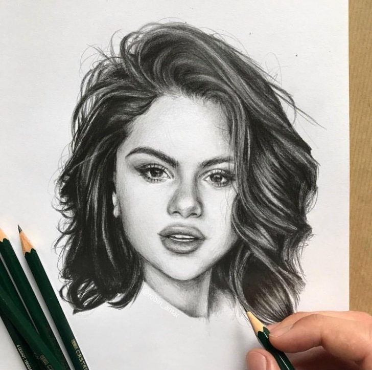 Selena Gomez Pencil Drawing