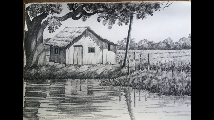 Fine Shading Drawing Of Scenery Courses Landscape Drawing In Pencil | Village Scenery | Easy - Paintingtube Picture