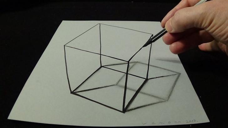 Fine Simple 3D Drawings On Paper With Pencil Free 3D Drawing A Simple Cube - No Time Lapse - How To Draw 3D Cube | Art Photos