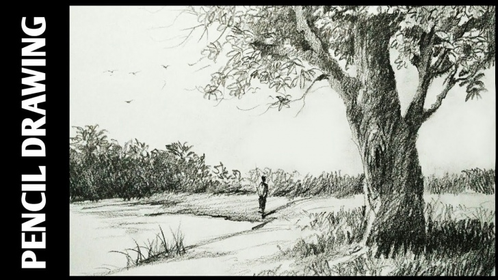 Fine Simple Landscape Sketch Ideas Landscape Drawing For Beginners With Pencil Sketching And Shading - Simple  Pencil Drawing Picture