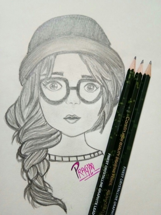 Fine Simple Pencil Sketch Of Girl for Beginners Such A Good Sketch Of Girl With Glasses!!!# Simple Pencil Drawing Image
