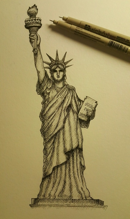 Fine Statue Of Liberty Pencil Drawing Simple Statue Of Liberty, Cross Hatching Technique. | Drawings In 2019 Picture
