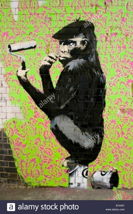 "Fine Stencil Art Street Techniques for Beginners Banksy ""gorilla Painting"" At The Cans Festival Stencil Art Street Images"
