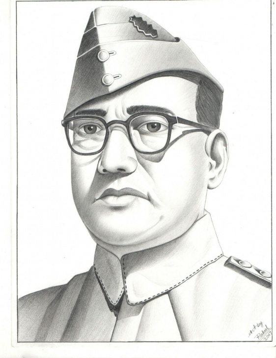 Subhash Chandra Bose Pencil Drawing
