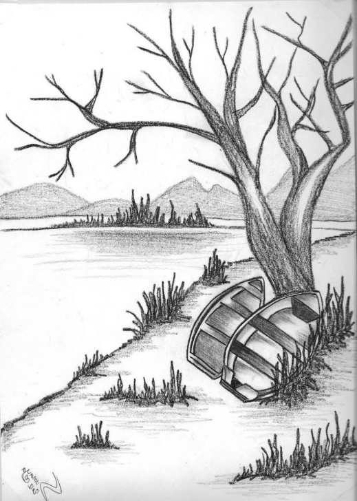 Fine Unique Pencil Sketches Step by Step Pencil Drawing Of Natural Scenery Simple Pencil Drawings Nature Picture