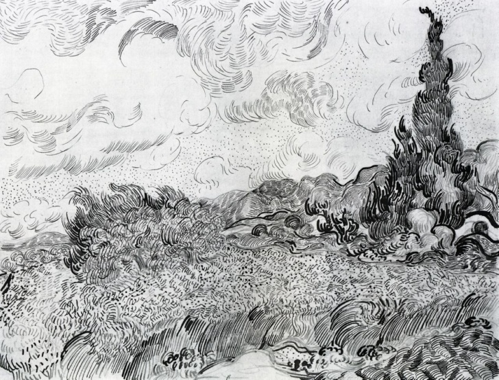 Fine Van Gogh Pencil Drawings Tutorials Field Landscape Drawing And Vincent Van Gogh | Drawing Pencil Photo
