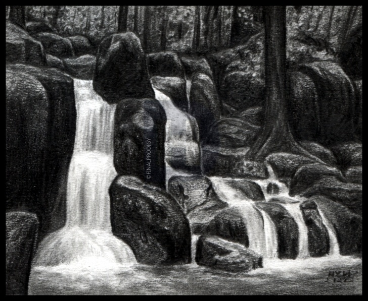 Fine Waterfall Pencil Drawing Free How To Draw Waterfalls, Realistic Waterfall, Step By Step, Drawing Images
