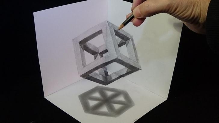 Good 3D Art Drawing Pencil Tutorials 3D Drawing Cube With Pencil - Corner Art Images