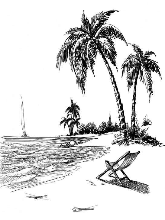 Good Beach Pencil Drawing for Beginners Beach Line Art Printed Photo Background / 7407 | Line Art | Beach Images