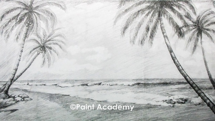 Good Beach Pencil Drawing Ideas How To Draw A Beach Landscape With Pencil Picture