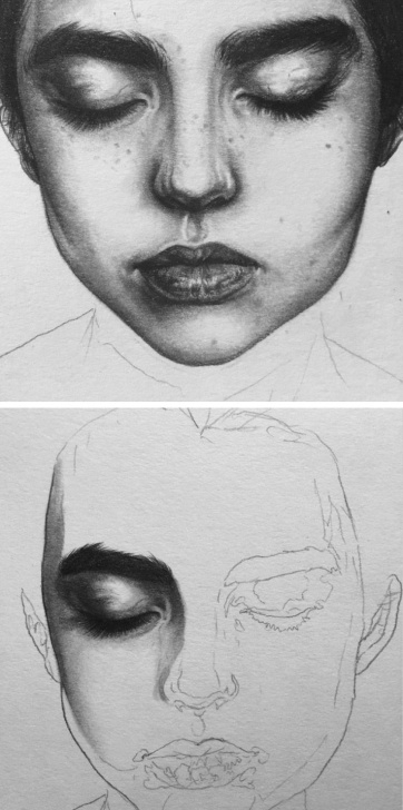 Good Beautiful Portrait Sketches Step by Step Beautiful Female Wip Portrait Drawing By Emokih Emokih.tumbler Photo