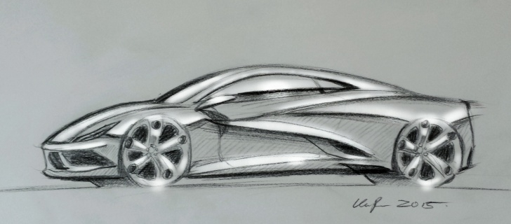 Good Car Pencil Art Simple 10 Minute Pencil Sketch. Some Midengined Supercar. Photos