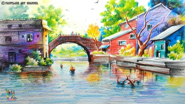 Good Colour Pencil Drawing Landscape for Beginners How To Draw A Very Easy And Simple Colorful Landscape | Pencil Pic