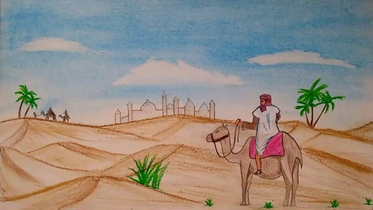 Good Desert Pencil Drawing Lessons Desert Landscape Pencil Drawing And How To Draw Landscape Scenery Of Image