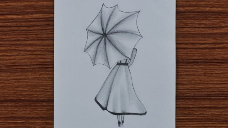 Good Drawing Easy Pencil for Beginners Easy Pencil Drawing For Beginners - A Girl With Umbrella - Step By Step Photos