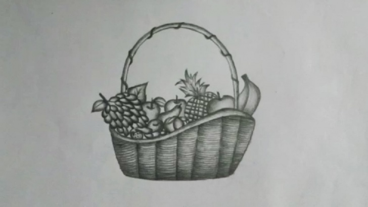 Good Fruit Basket Pencil Drawing Free How To Draw A Fruit Basket || Step By Step With Pencil Image