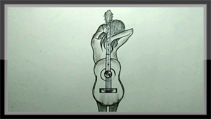 Good Guitar Pencil Art Free Pencil Drawing - How To Draw A Guitar Easy Pics