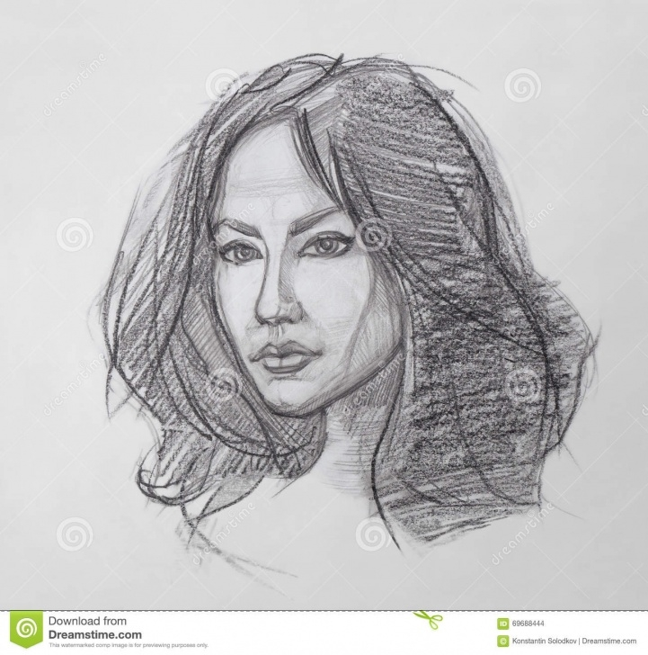 Good Human Sketches With Pencil Techniques for Beginners Female Portrait - Pencil Drawing Stock Illustration - Illustration Photos