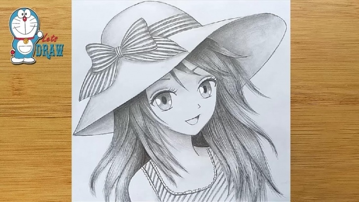 Good Manga Pencil Drawings Tutorials How To Draw Anime Girl With Hat - Step By Step || Manga Girl Pencil Sketch Pic
