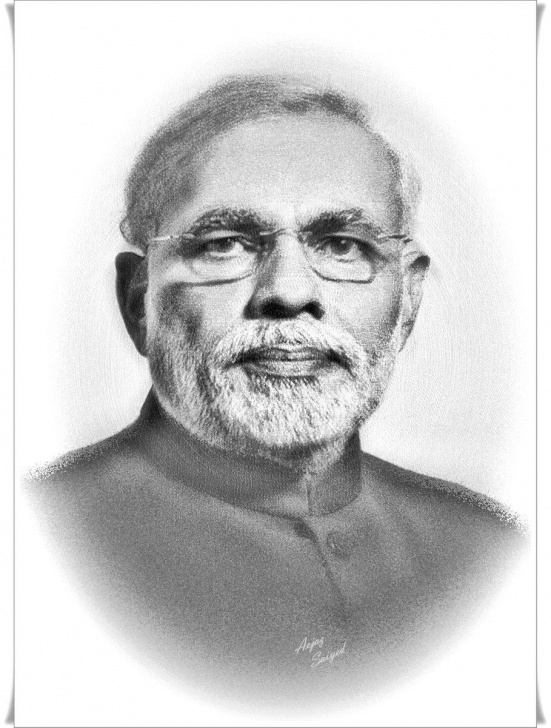 Good Modi Pencil Sketch Step by Step Embedded Image | Narendra Modi In 2019 | Art, Digital Art, Sketches Picture