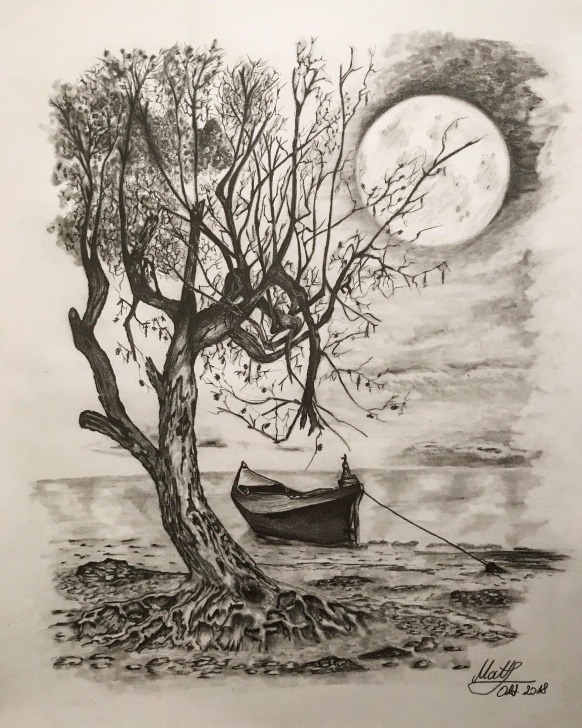 Good Moon Pencil Drawing for Beginners Moon Pencil Drawing At Paintingvalley | Explore Collection Of Image