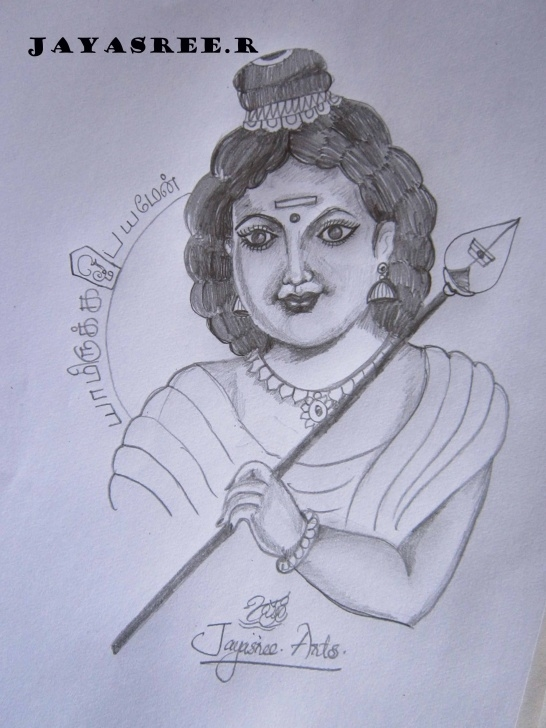 Good Murugan Pencil Drawing Techniques Pencil Sketch Of God Murugan | Desipainters Image