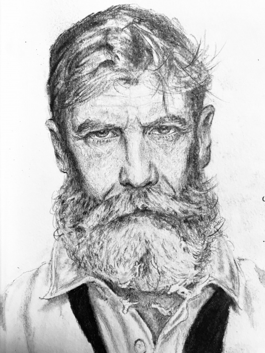 "Good Old Man Drawing Pencil Easy Old Man , Pencil, 5X7"" : Art Pic"