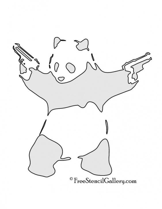 Good Panda Graffiti Stencil Easy Banksy-Panda With Guns Stencil | Stencils & Stamps | Banksy Stencil Image