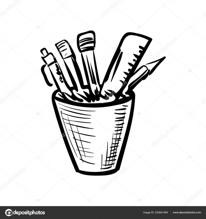 Good Pencil Box Sketch Lessons Handdrawn Pencil-Box Doodle Icon. Hand Drawn Black Sketch. Sign Photo
