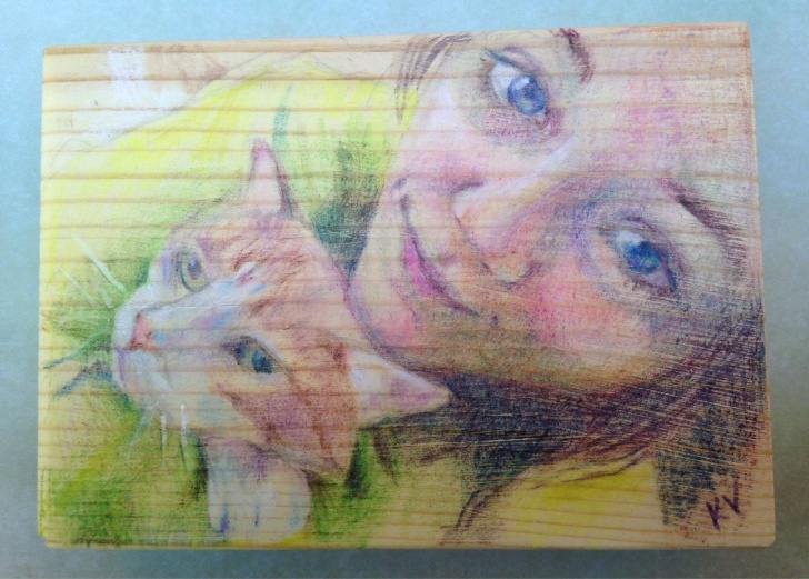 Good Pencil Drawing On Wood Easy Personal Aceo Custom Colored Pencil Drawing On Wood - Hales Pics