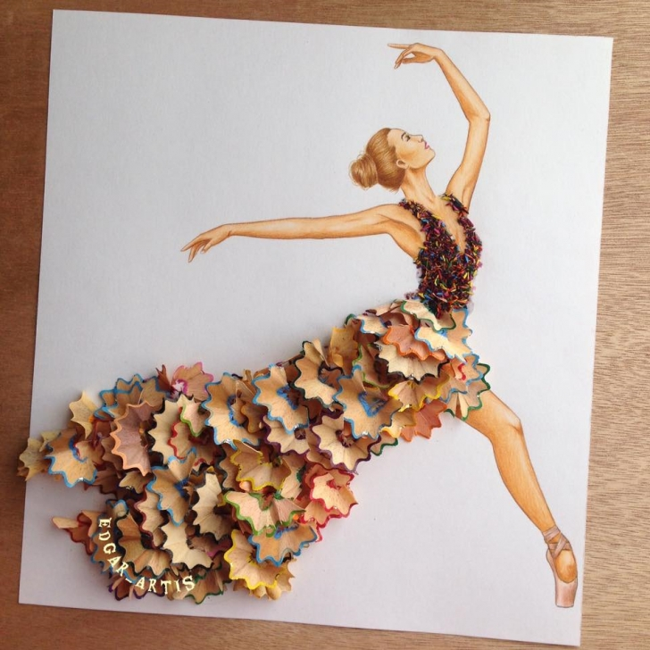 Good Pencil Shaving Drawing Techniques for Beginners Ballerina Wearing Dress Made Of Pencil Shavings By Edgar Artis Pic